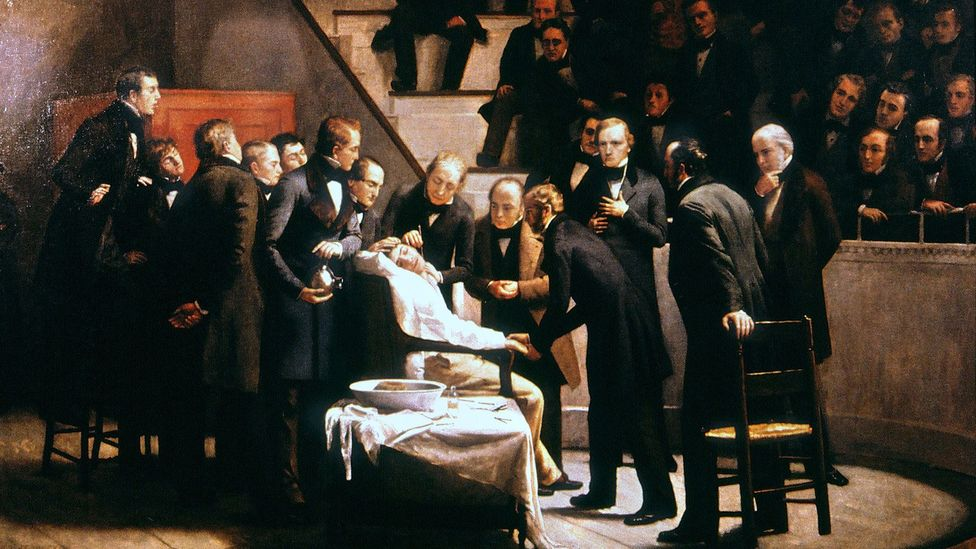 An illustration of the first demonstration of surgery under anaesthesia at Massachusetts General Hospital in 1846 (Credit: Alamy)