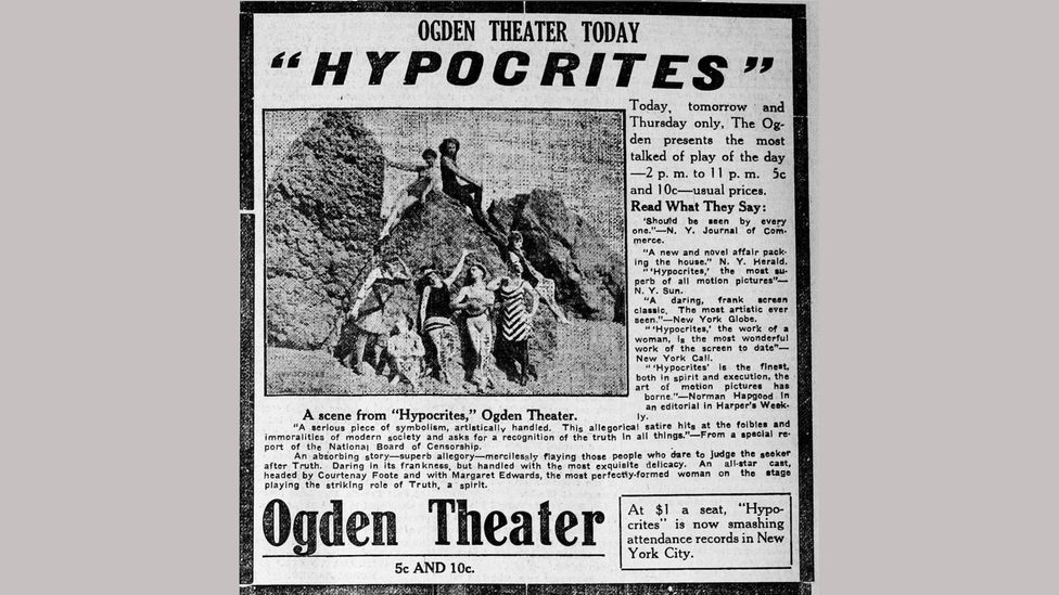 A newspaper advertisement for Weber's controversial 1915 film Hypocrites (Credit: Commons Wikimedia)