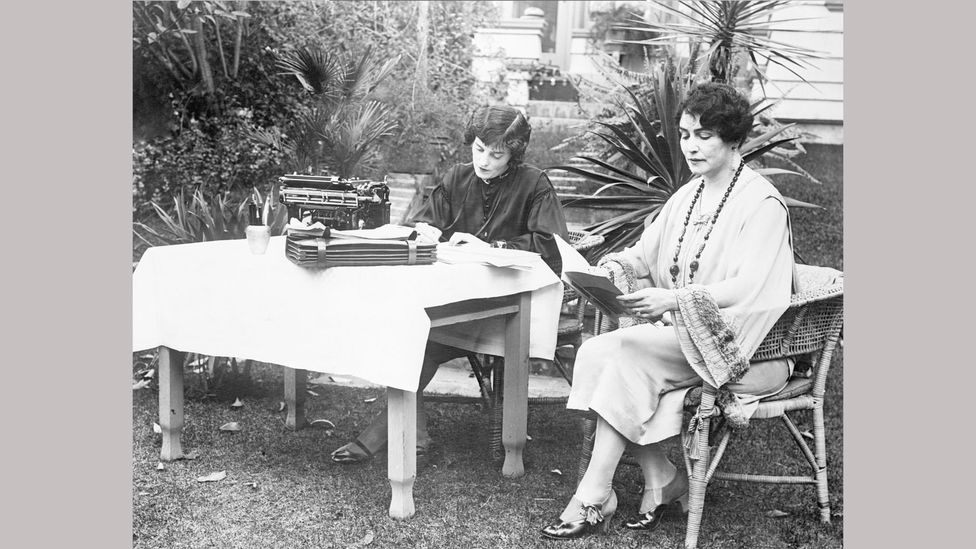 The film-maker photographed in her garden with her secretary in 1926 – Weber died in 1939 (Credit: Getty Images)
