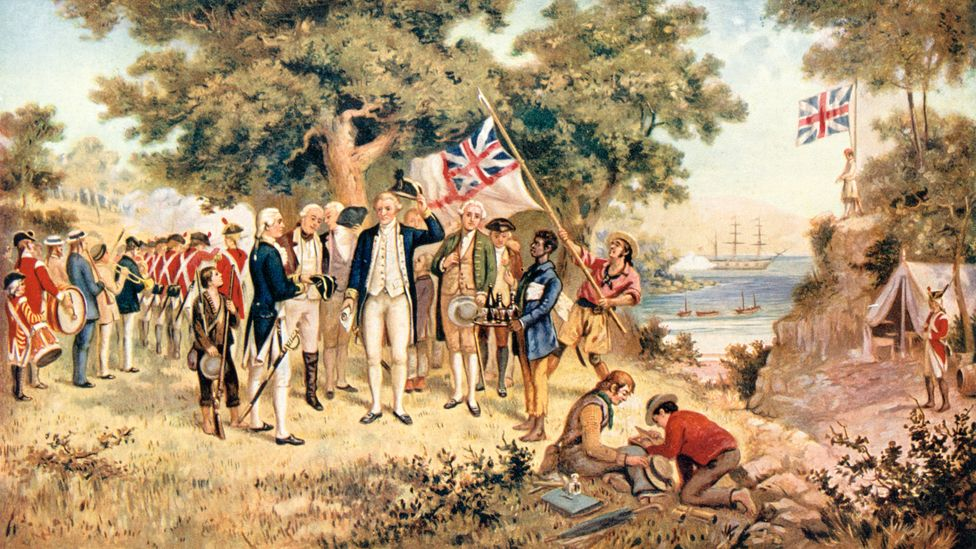 Captain James Cook taking possession of New South Wales in the name of the British Crown, 1770 (Credit: Getty Images)