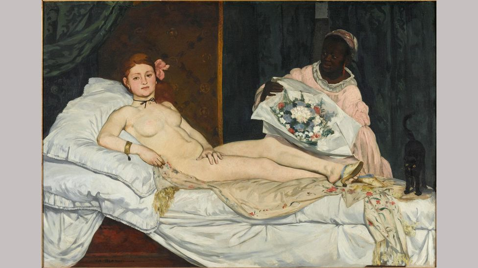 Manet's 1863 painting Olympia portrays the model Laure on the right as the servant (Credit: Musée d'Orsay/ RMN-Grand Palais / Patrice Schmidt)