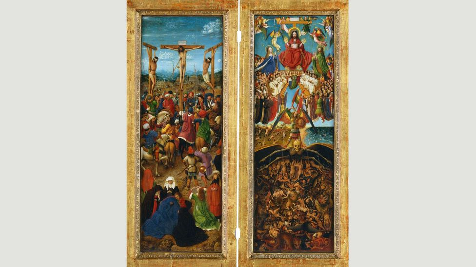 Jan van Eyck showed the topography of the moon as seen by the naked eye in his diptych The Crucifixion and The Last Judgment, circa 1435-40 (Credit: Alamy)