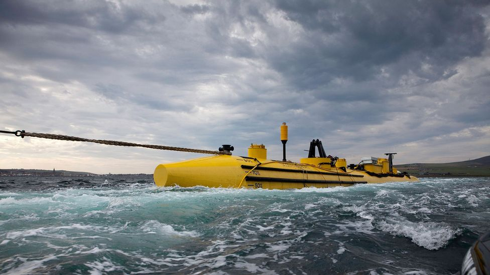 Eday is where the European Marine Energy Centre tries new tidal turbines in the rough waters (Credit: Alamy)