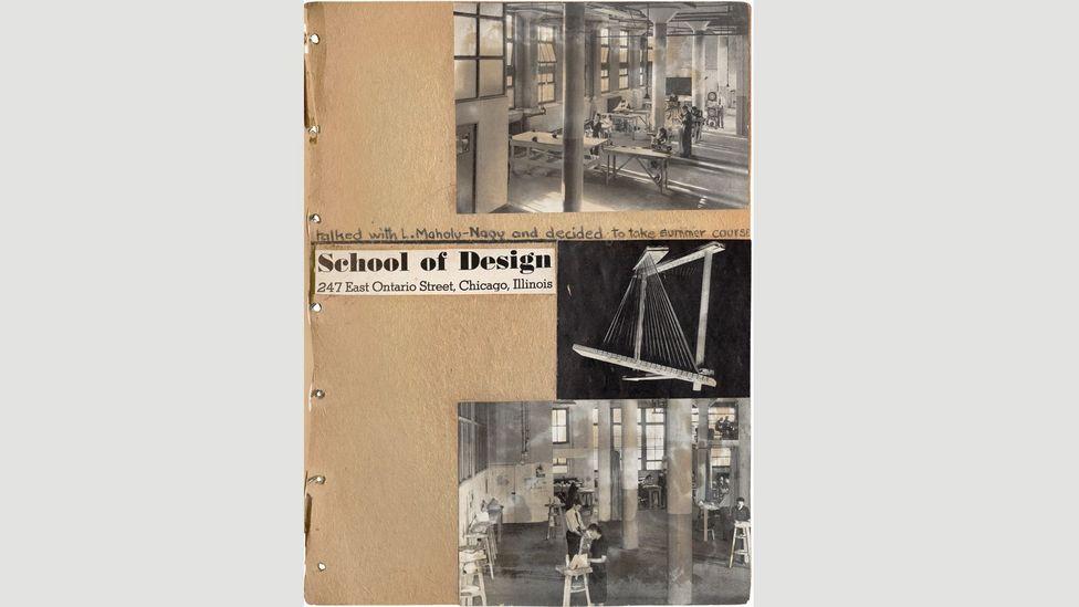 A scrapbook showing the School of Design, Chicago, 1940 (Credit: Benjamin Blackwell/ Estate of Margaret DePatta)