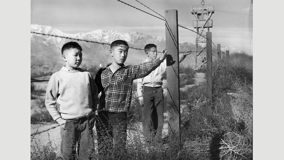 Tōyō Miyatake, Three Boys Behind Barbed Wire, 1944 (Credit: Toyo Miyatake Studio)