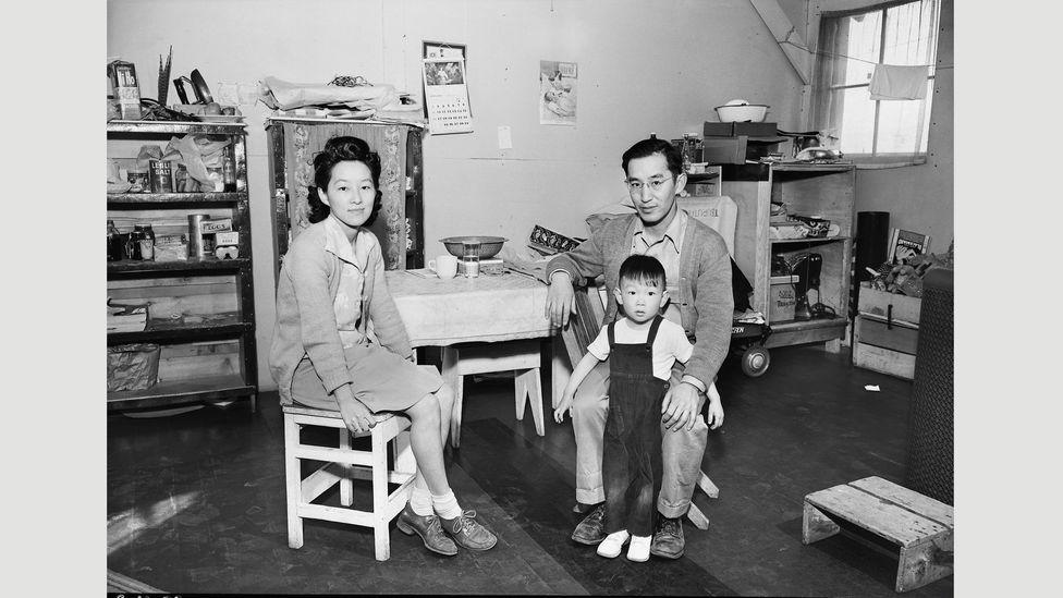 Ansel Adams, Aya and Henry Tsurutani with their son Bruce, Manzanar, January 20, 1944 (Credit: Library of Congress, Washington, DC)