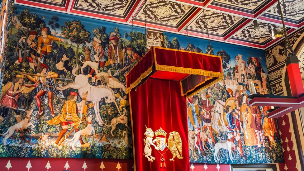 Recreations of The Unicorn Tapestries, one of the most valuable artworks of the late Middle Ages, hang in Scotland's Stirling Castle (Credit: lowefoto/Alamy)