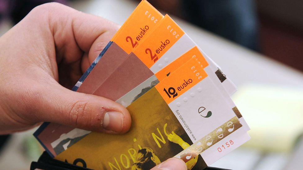 Launched in 2013, the eusko micro-currency reached the equivalent of €1 million in circulation in 2018 (Credit: GAIZKA IROZ/AFP/Getty Images)