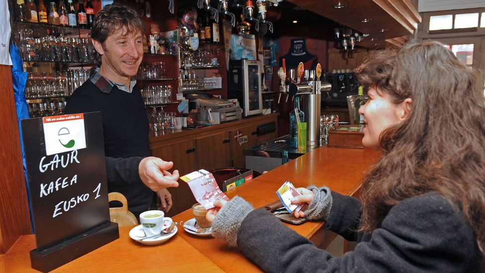More than 800 local shops and businesses in French Basque Country accept the eusko as legal tender (Credit: GAIZKA IROZ/AFP/Getty Images)