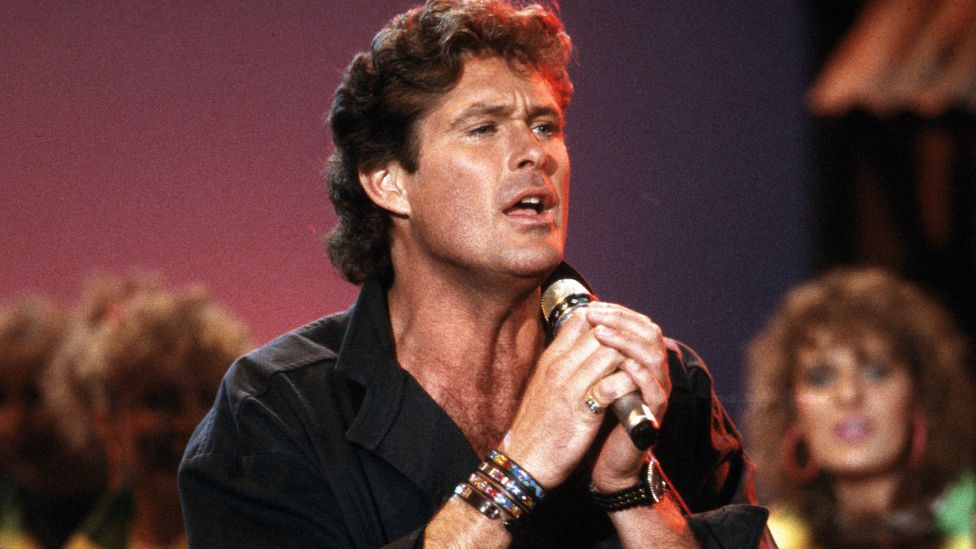 David Hasselhoff performing in Germany, perhaps with his infamous golden trousers (Credit: Getty Images)