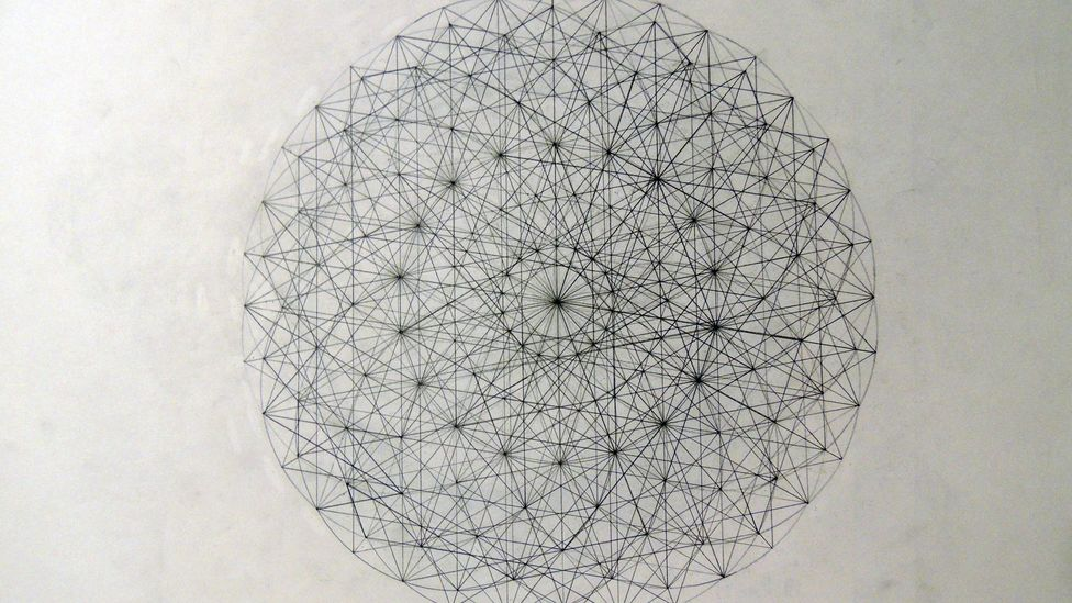 A physicist who recognised the drawings that Padgett was producing set him on a new path by urging him to study mathematics (Credit: Jason Padgett)