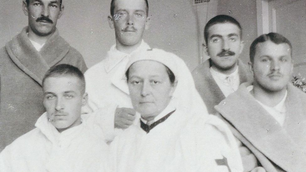 Gedroits is photographed with her patients. Unlike many of her colleagues, she did not shy away from difficult operations to the abdomen (Credit: Alamy)