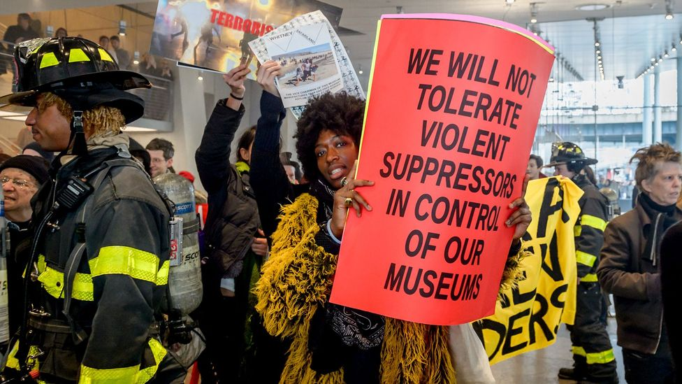 Activists Decolonize This Place protest inside New York's Whitney Museum (Credit: Getty)