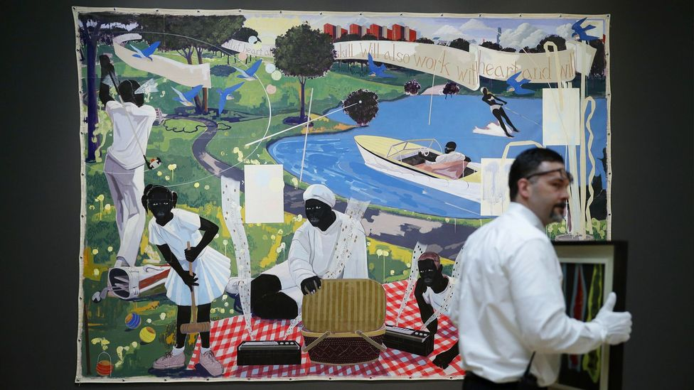 Kerry James Marshall's painting Past Times (1997) sold for $21.1m, a new record for a living African-American artist (Credit: Alamy)