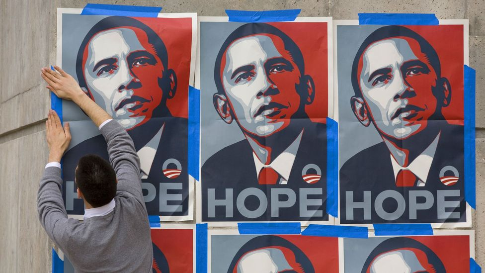Shepard Fairey's iconic image of Obama recalls both Warhol's Marilyn and Korda's Guevera (Credit: Getty)