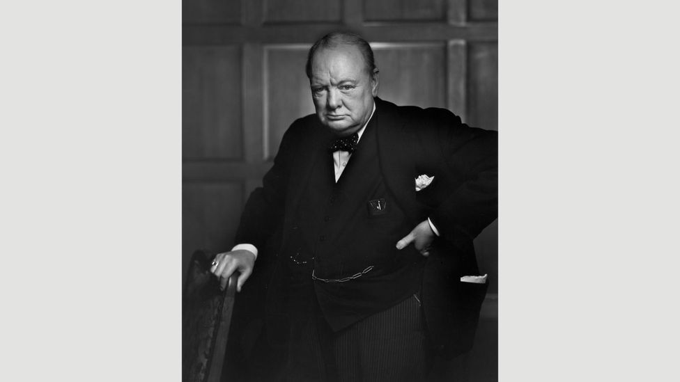 Yousuf Karsh's 1941 portrait of Sir Winston Churchill captures the leader with an unflattering, belligerent expression (Credit: Camera Press)