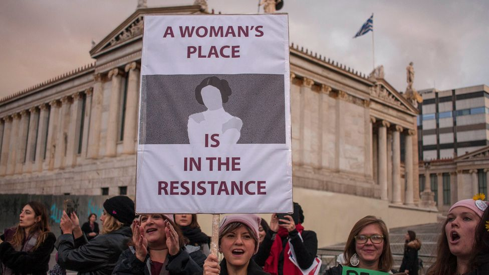 Activists on the Womens March 2018 in Athens demonstrating for women's rights in the workplace (Credit: Getty)