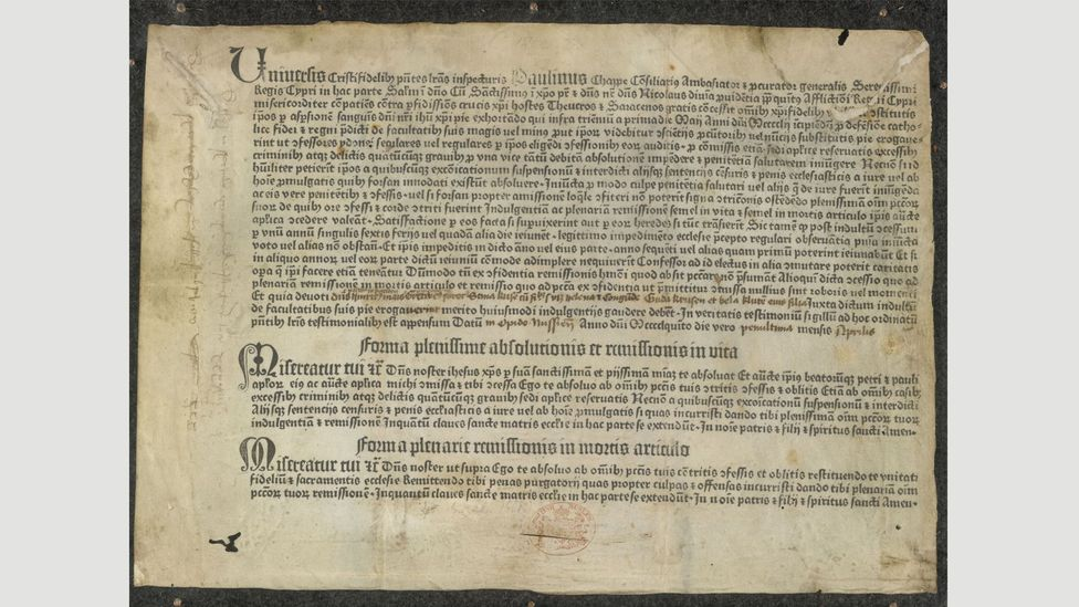 Gutenberg's Papal Indulgence is thought to be the earliest piece of printing with movable type in Europe (Credit: British Library Board)