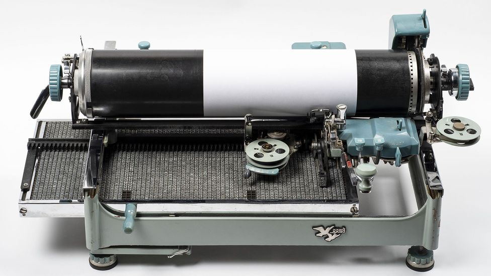 The Double Pigeon typewriter lacks a keyboard: users select a character and press a lever to ink and type it before returning it to its place (Credit: British Library Board)