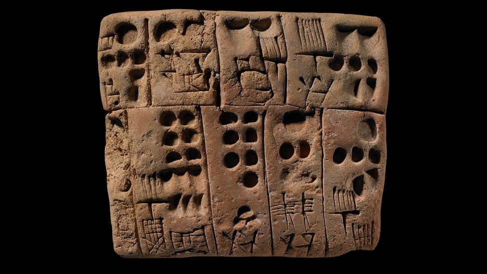 It's believed that many alphabets have their origins in writing from Egypt and Mesopotamia, such as this Uruk clay tablet (Credit: The Trustees of the British Museum)