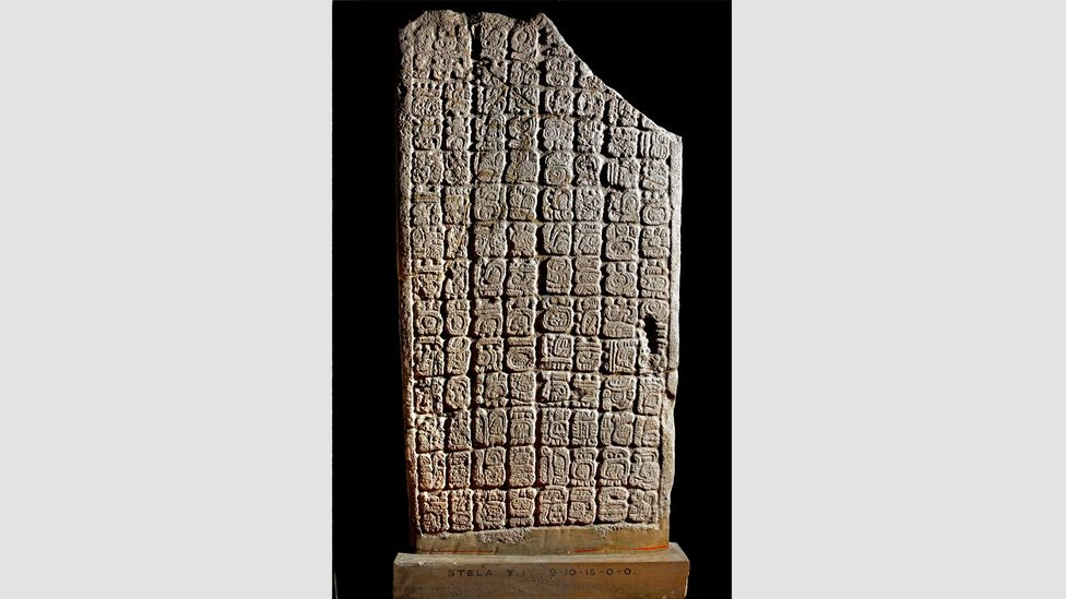 This Mayan limestone stele with writing from Belize is dated to AD647 (Credit: The Trustees of the British Museum)