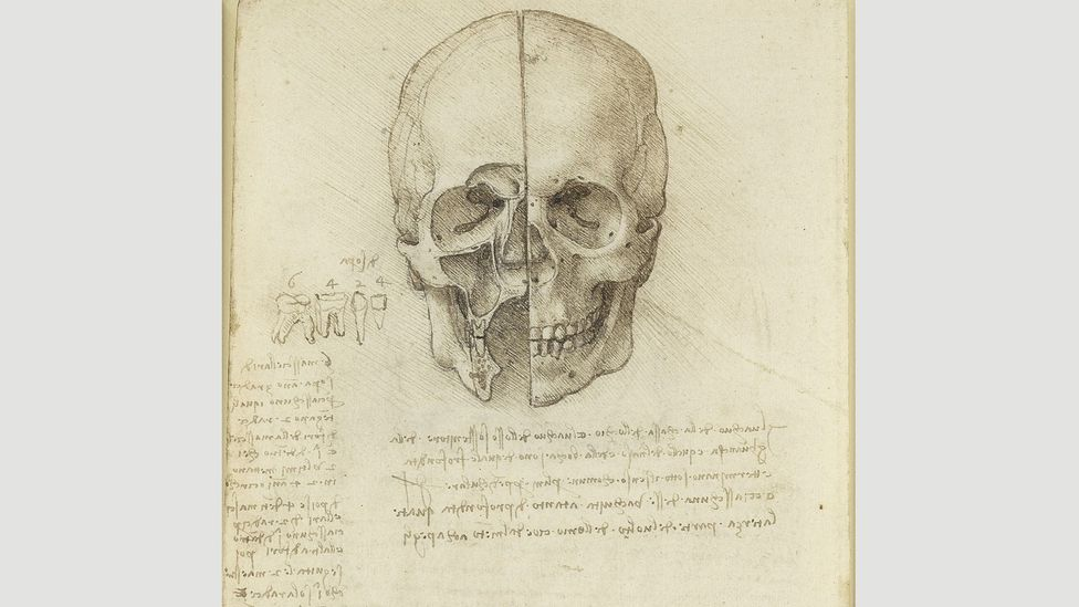 The skull sectioned, 1489: in another drawing of the brain, Da Vinci drew the cerebral ventricles as three cavities, housing imagination, reasoning and memory