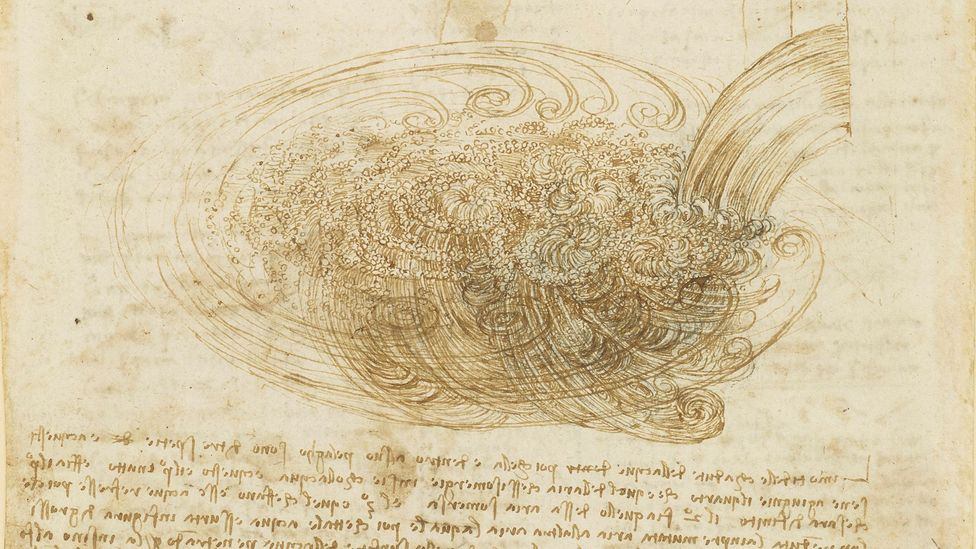 In his studies of water, c1510-12, Da Vinci shows the eddies and bubbles resulting from water falling from a sluice into a pool, freezing the scene in time