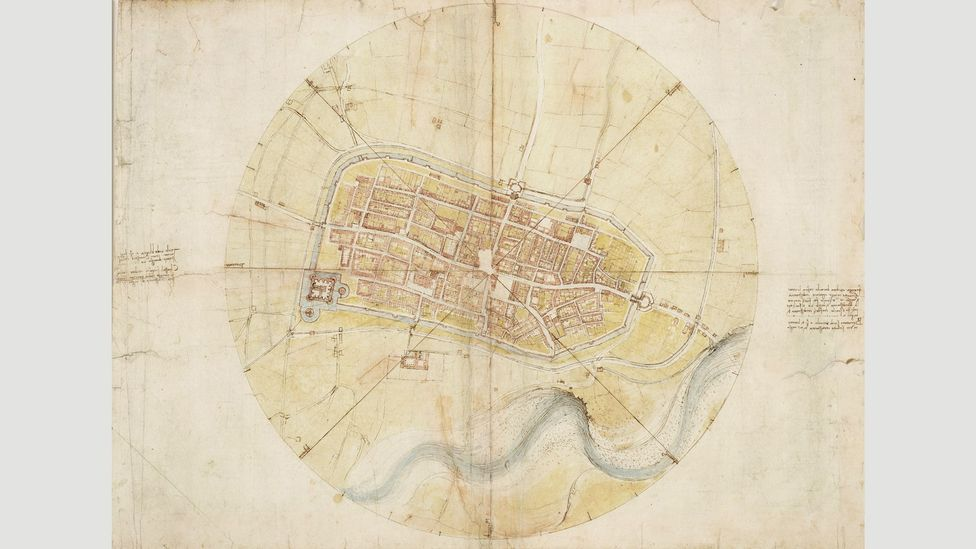 Da Vinci's map of Imola, 1502, was so accurate that it could still be used for directions today