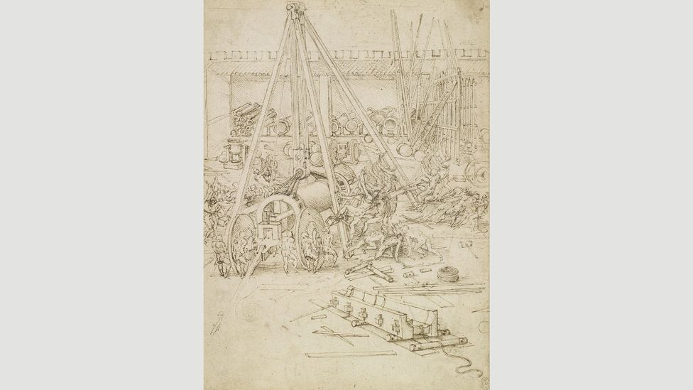 Gunpowder was introduced to European warfare during Da Vinci's life, and his military drawings of the 1480s include designs for chariots and catapults as well as guns and mortars