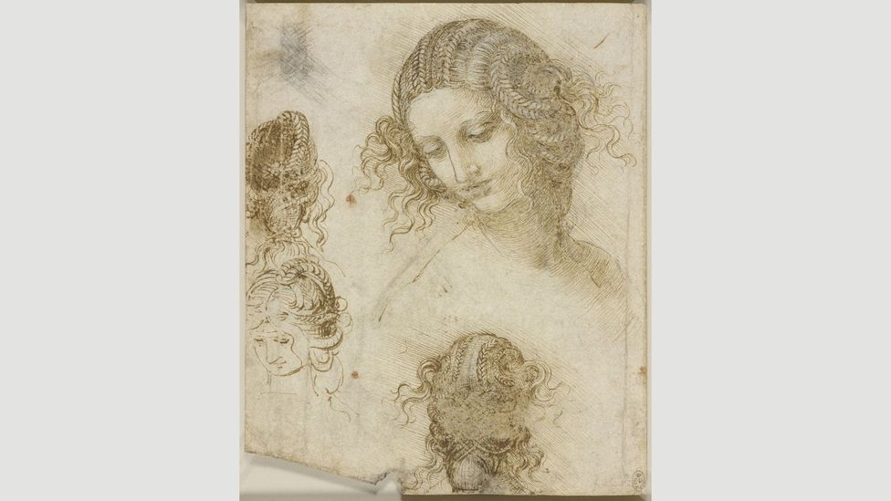 Da Vinci considered how Leda's hair might look from behind, implying that he conceived her hair as a wig, and that the drawings might have also been studies for real wigs