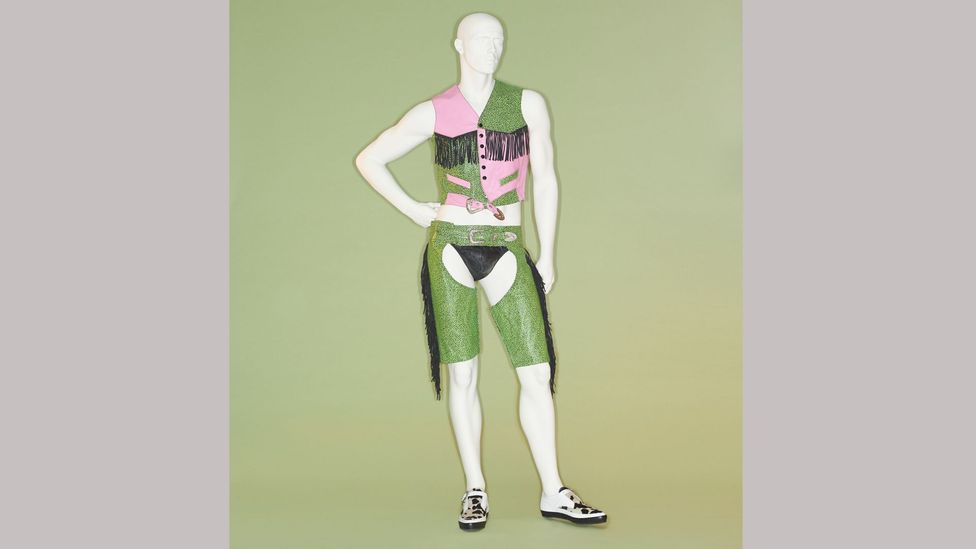 A lurid pink-and-green waistcoat, chaps and underpants by Jeremy Scott are among the Met exhibits (Credit: Metropolitan Museum of Art/ Johnny Dufort)