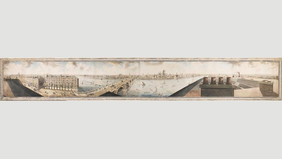 In 1789, the artist Robert Barker invented a cylindrical vista that surrounded the viewer: at first, a panorama was something that enclosed rather than a space without limits