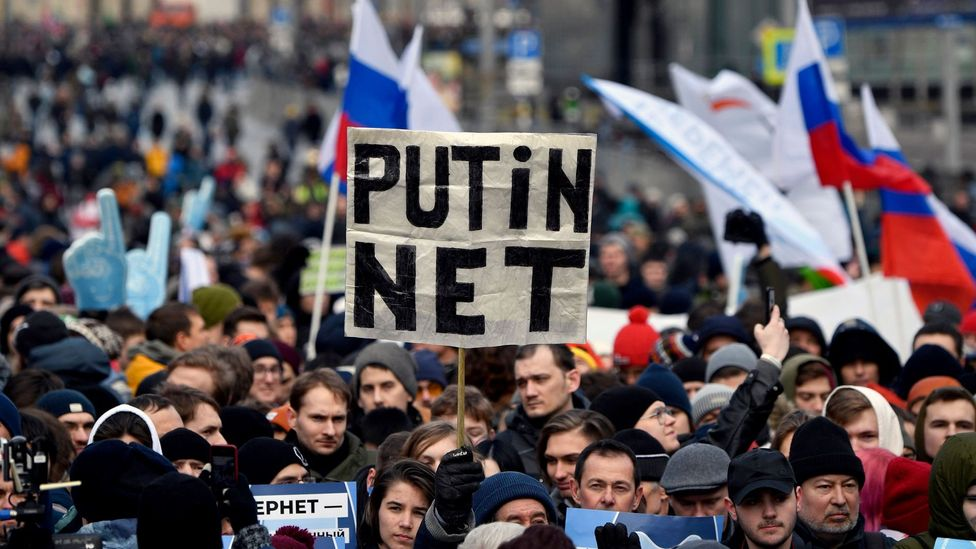 Russia's increasingly restrictive internet policies have sparked protests across the country, including this demonstration in Moscow in March 2019 (Credit: Getty Images)