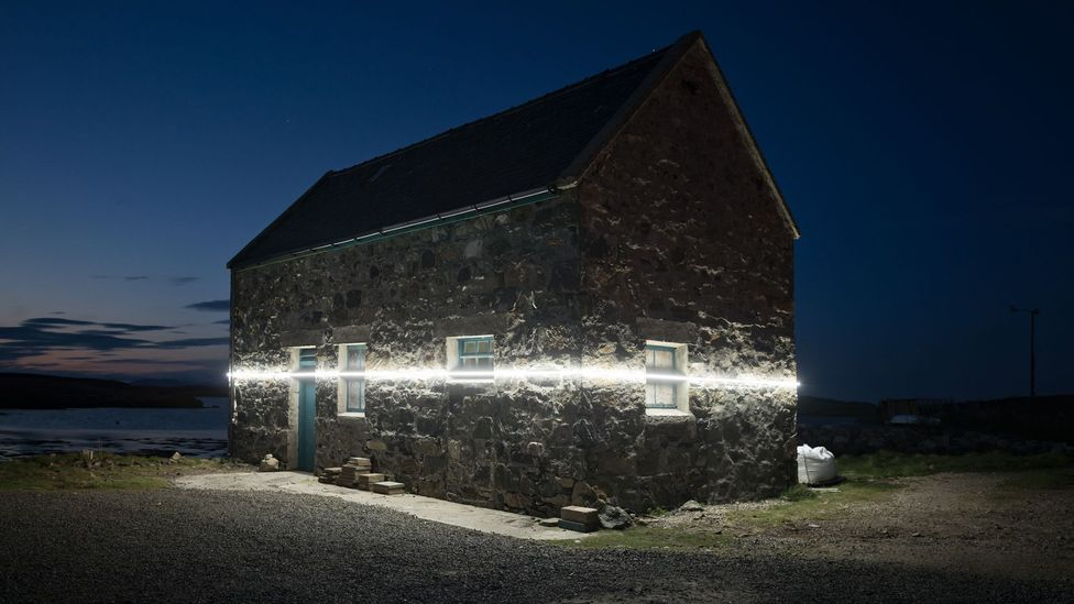 An installation by Finnish artists Pekka Niittyvirta and Timo Aho in the Outer Hebrides used light to show the impact of sea level rise (Credit: Pekka Niittyvirta and Timo Aho)