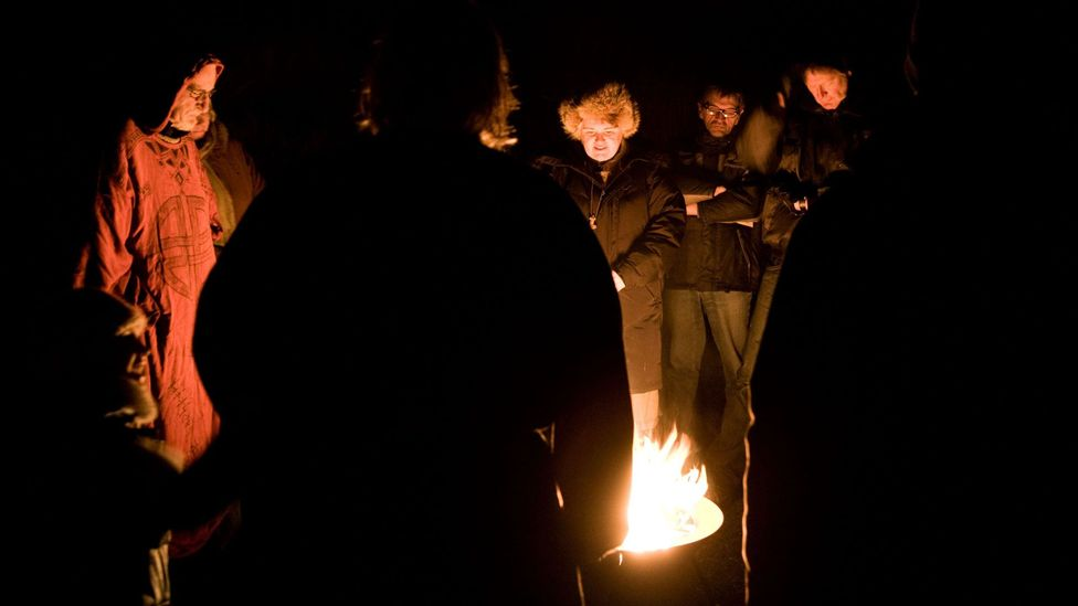 Ásatrú Association members mark the changing of the seasons with a blót, which usually involves lighting a fire and listening to Old Norse poetry (Credit: Bjarki Reyr/Alamy)