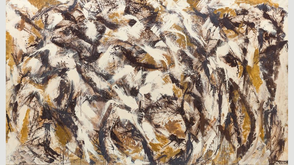 In a period of deep depression, Krasner produced dark, umber-hued paintings such as Polar Stampede, 1960 (Credit: The Pollock-Krasner Foundation)