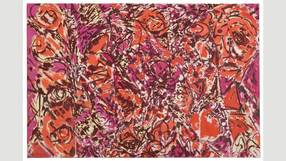 Krasner's primary series of the mid-1960s – including Icarus, 1964 – display vibrant colours like hot pink and orange (Credit: The Pollock-Krasner Foundation)