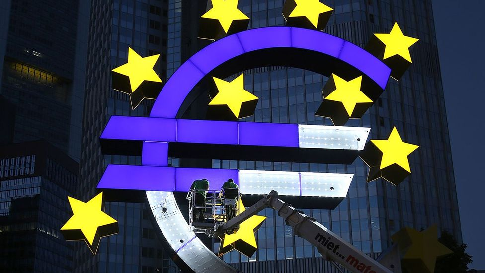 The Euro sculpture built in 2001, in need of repairs undergoes restoration in Frankfurt am Main, Germany (Credit: Getty Images)
