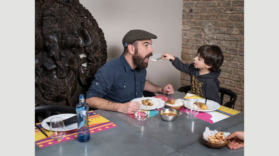 Barcelona-based restaurant critic Jordi Luque often brings his four-year-old son Rai to tastings as a way to educate him in good food (Credit: Gabriele Galimberti/INSTITUTE)