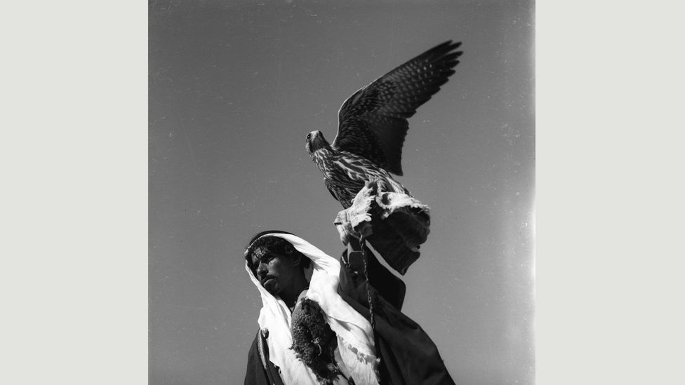 A bedouin carrying the falcon he uses to hunt, Syrian Desert, by Jibrail Jabbur (Credit: Norma Jabbur collection, courtesy of the Arab Image Foundation)