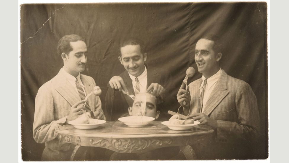 Mr. Skaff in four different positions, 1905 (Credit: Yacoub Katimi collection, courtesy of the Arab Image Foundation)