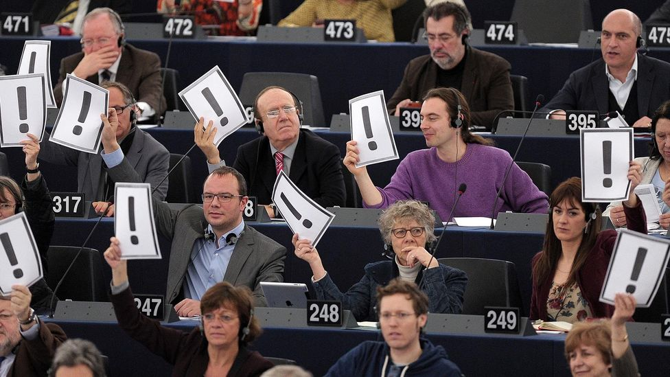 Exclamation marks can sometimes be jarring or convey strong emotion. The European Parliament used them to protest changes to Hungary's constitution in 2013 (Credit: Getty Images)