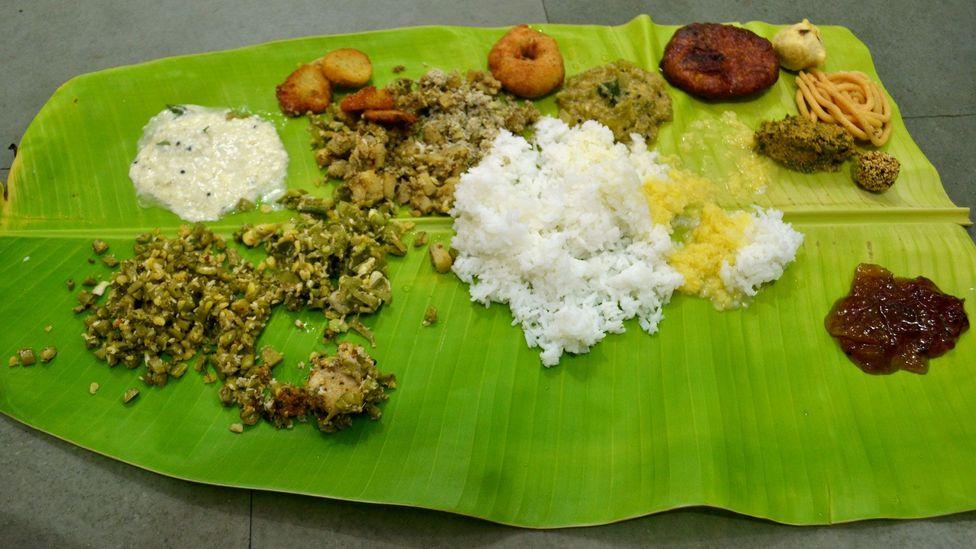 After the shraadha ritual is complete, cooks serve the meal on a banana leaf (Credit: Yasaswini Sampathkumar)
