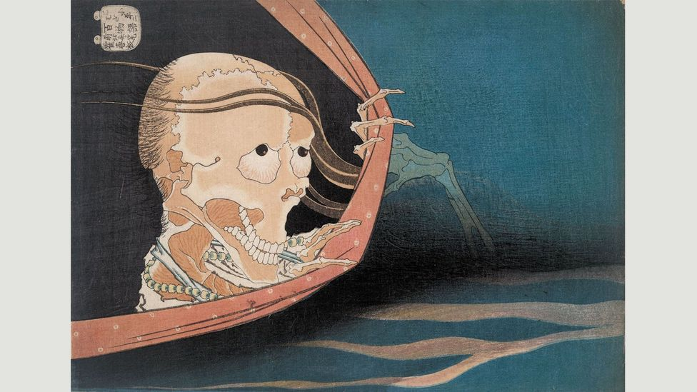 This 1833 woodblock by Hokusai, from the series One Hundred Ghost Tales, illustrates a macabre legend about a murdered kabuki actor (Credit: The Trustees of the British Museum)