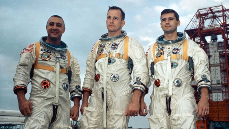 Three astronauts – Gus Grissom, Ed White and Roger Chaffee – died when their command module caught fire during a ground test (Credit: Nasa)