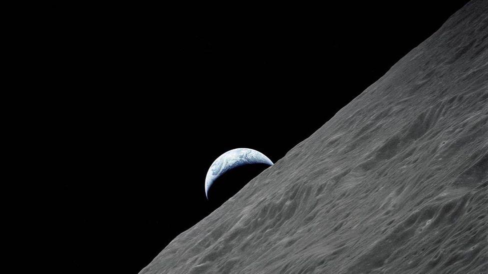 Earth behind Moon (Credit: Nasa)