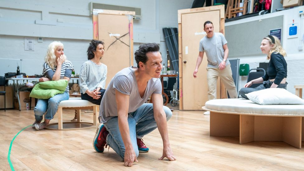A new West End revival of Noel Coward's Present Laughter sees Andrew Scott having liaisons with both sexes (Credit: Manuel Harlan)