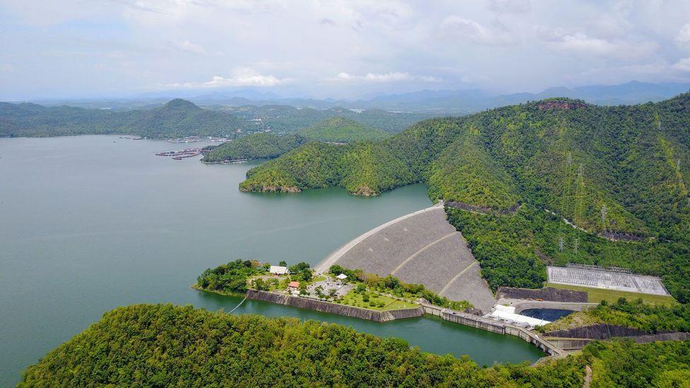 The Vajiralongkorn Dam near Sangkhlaburi, Thailand