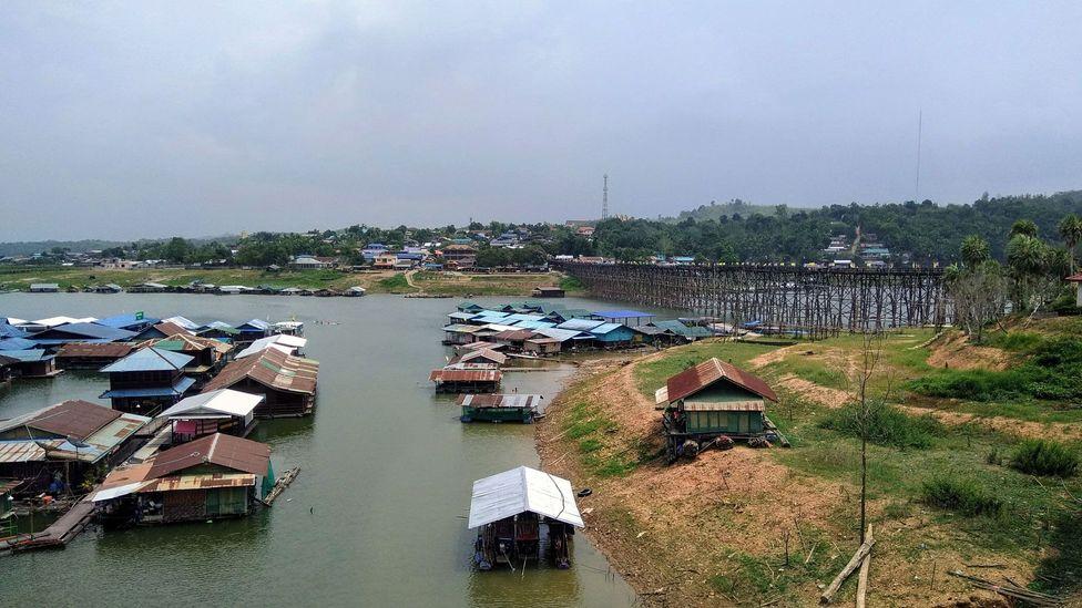Houseboats on the Sangkalia River in Sangkhlaburi, Thailand