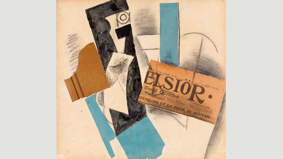 Picasso's early Cubist collages, including A Bottle and a Newspaper (1912), incorporate clippings from newspapers that chronicle the accelerating tensions in the Balkans